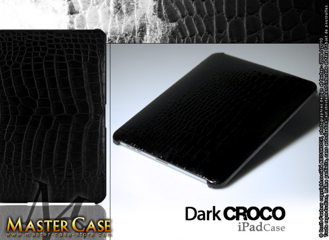 "Coque iPad cuir ""Dark Croco"""