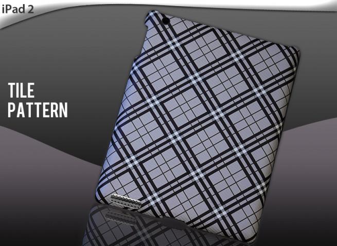 """Coque iPad 2 """"Tile Pattern""""-noir/gris"""