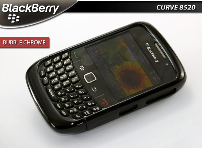 "Coque BlackBerry Curve 8520 ""Bubble Chrome""-Noir"