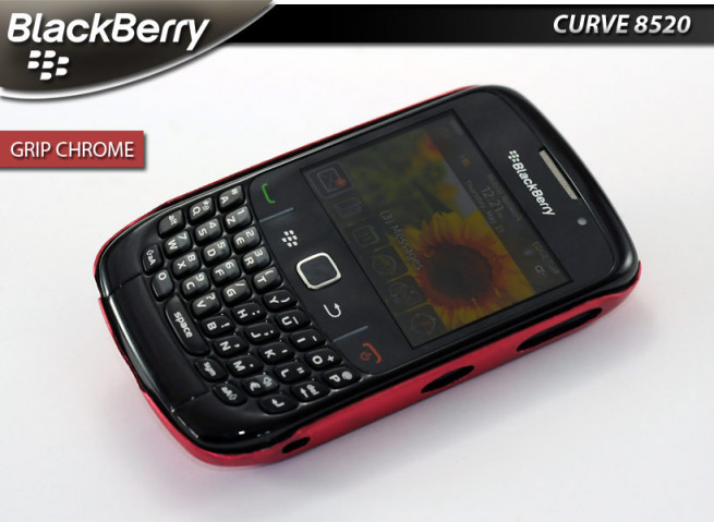 "Coque BlackBerry Curve 8520 ""Grip Chrome""-Rouge"