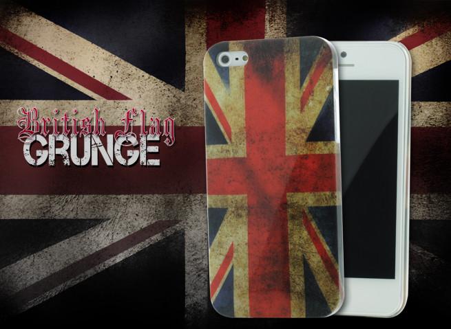 Coque iPhone 5 British Flag Grunge