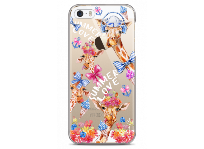 Coque iPhone 5C Summer watercolor pattern giraffe