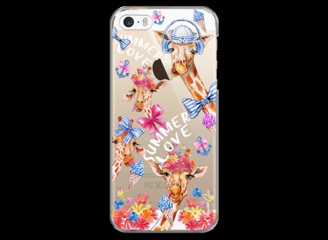 Coque iPhone 5C Summer watercolor pattern giraffe