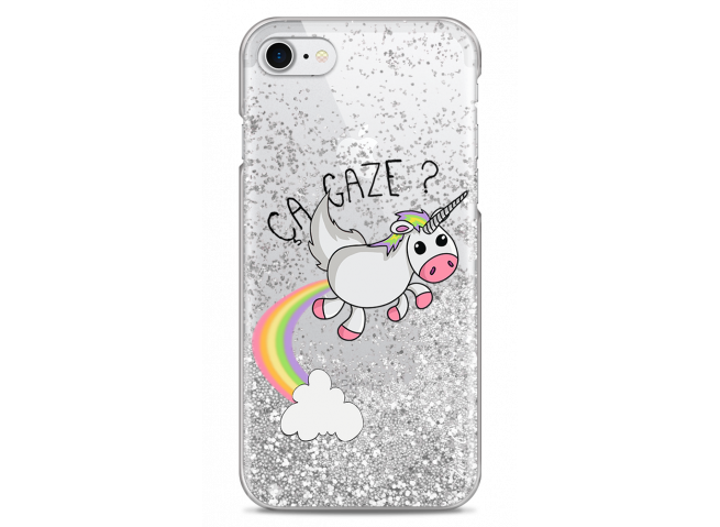 Coque iPhone 7Plus/8Plus Silver glitter Ça gaze