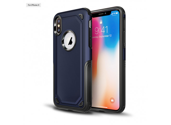 Coque iPhone XR No Shock Case-Bleu