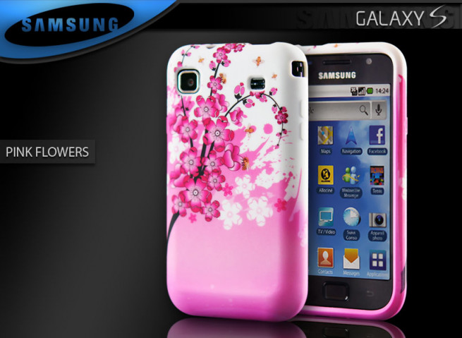 "Coque Galaxy S i9000 ""Pink Flowers"""