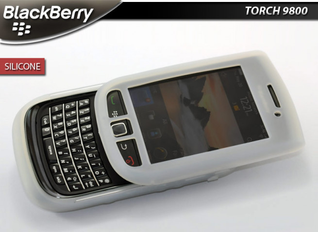 "Coque BlackBerry Torch 9800 ""Silicone""-Blanc Translucide"