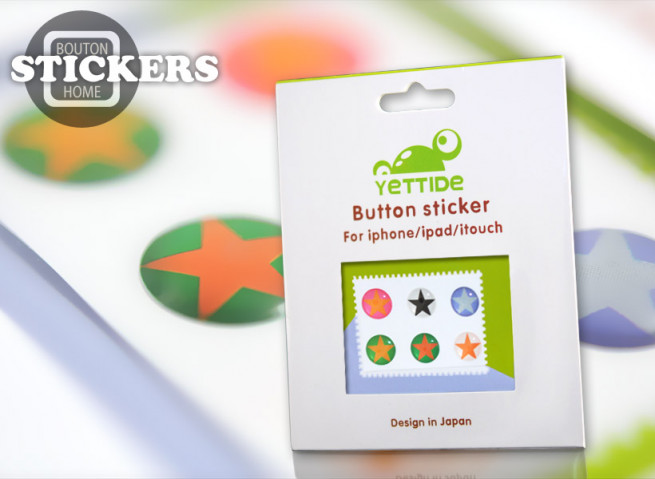 """Pack 6 Stickers iPhone/iPad/iPod Touch """"Boutons Home"""" - Etoiles"""