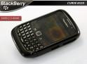 """Coque BlackBerry Curve 8520 """"Bubble Chrome""""-Noir"""