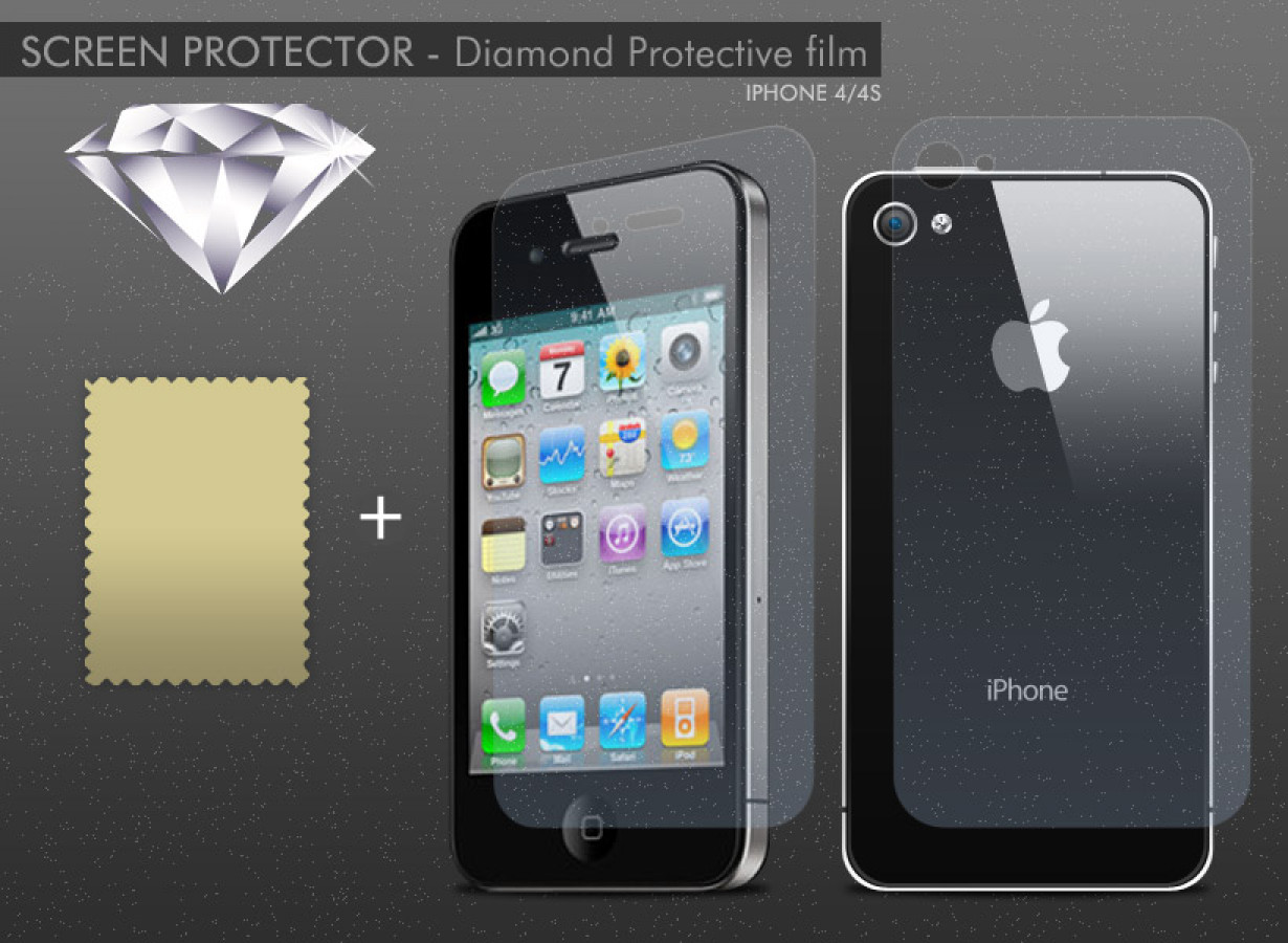 kit 1 film protecteur effet diamant iphone 4 4s. Black Bedroom Furniture Sets. Home Design Ideas