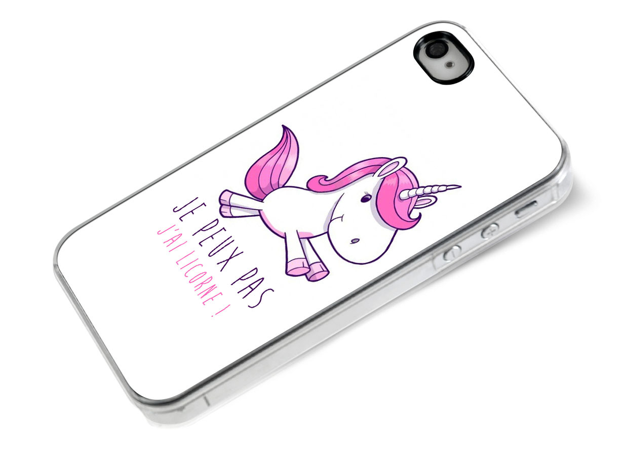 coque iphone 4 4s je peux pas j 39 ai licorne. Black Bedroom Furniture Sets. Home Design Ideas