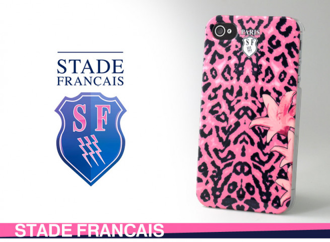 coque iphone 4 stade francais leopard rose