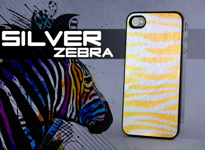 Coque iPhone 4 Silver Zebra-Or