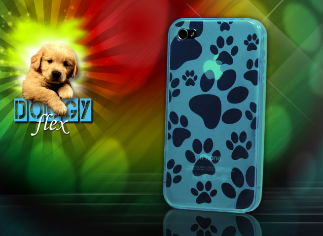 "Coque iPhone 4 ""Doggy Flex""-Bleu"
