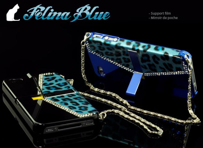 Coque iPhone 4/4S avec support TV Felina Blue