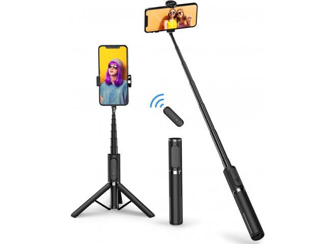 Perche téléscopique Selfie TREPIED avec bouton Bluetooth-Noir