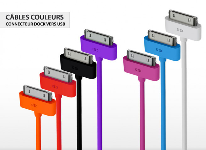 Câble Connecteur Dock vers USB iPhone 3G/S/4/4S, iPod, iPad