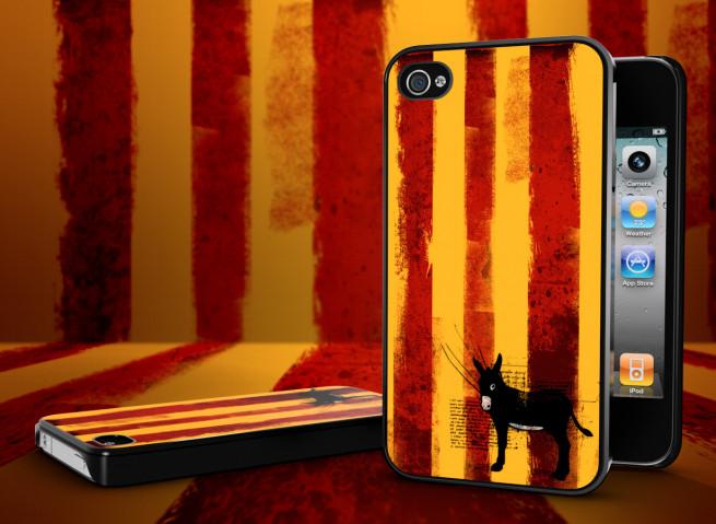 Coque iPhone 4S Drapeau Catalan Grunge
