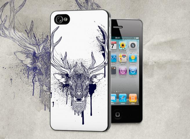 Coque iPhone 4/4S Black Deer Face