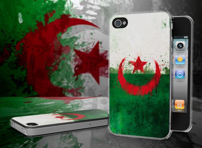Coque iPhone 4/4S Drapeau Algérie Grunge Translucide