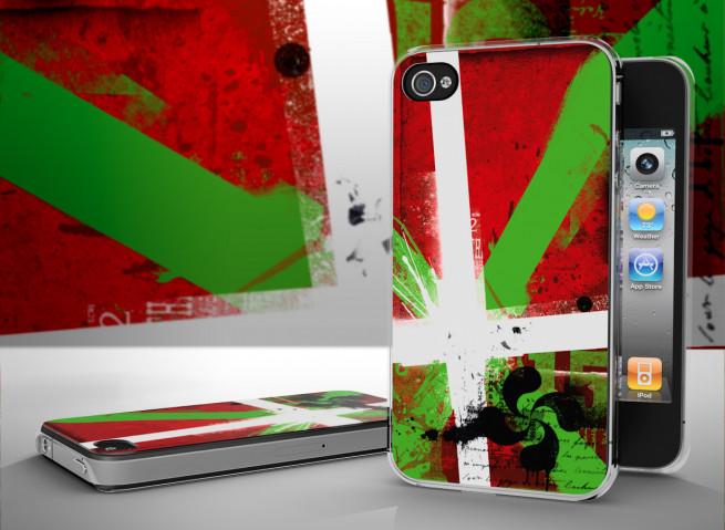 Coque iPhone 4/4S Drapeau Pays Basque Avec Trèfle Grunge-Translucide