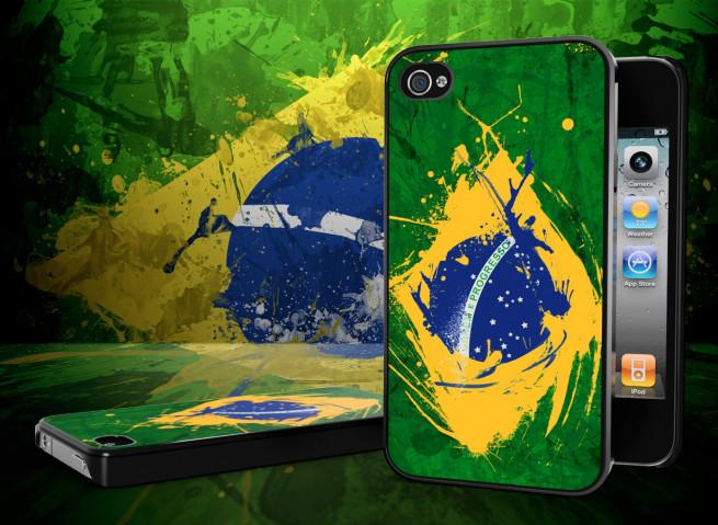 Coque iPhone 4/4S Drapeau Bresil Grunge Noir