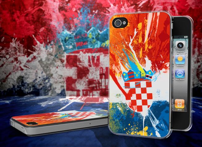 Coque iPhone 4/4S Drapeau Croatie Grunge Translucide