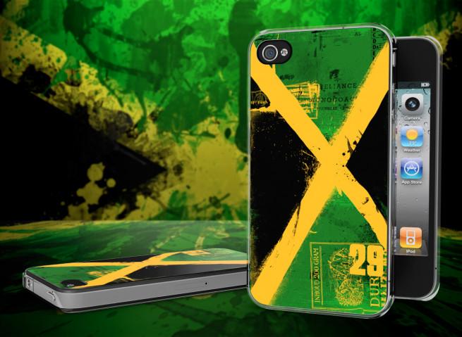 Coque iPhone 4/4S Drapeau Jamaique Grunge Translucide