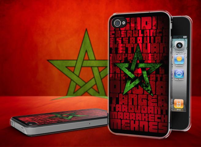 Coque iPhone 4/4S Drapeau Maroc Grunge Translucide