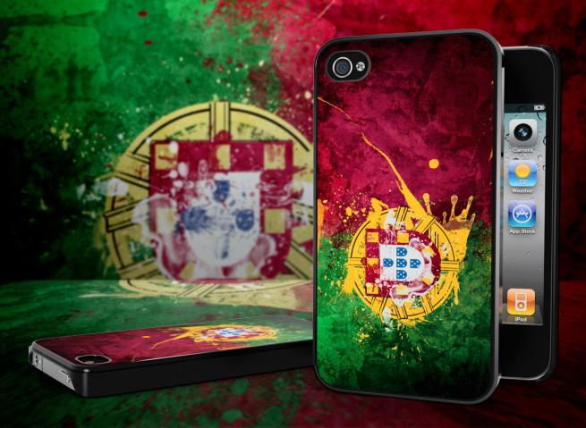 Coque iPhone 4 Drapeau Portugal Grunge Noir