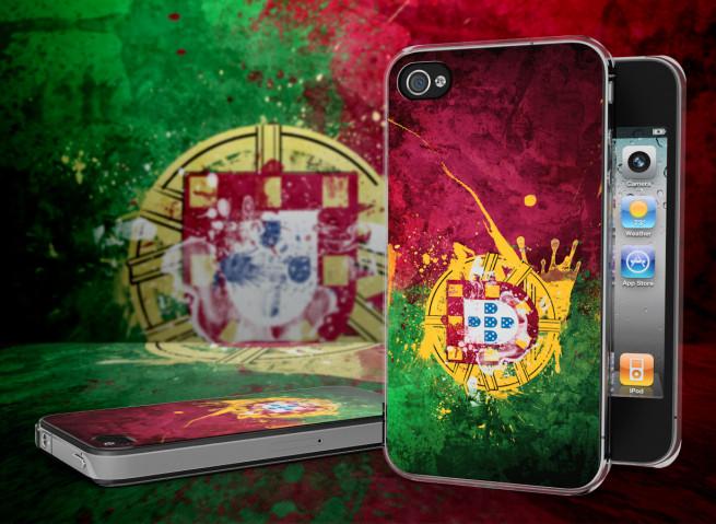 Coque iPhone 4/4S Drapeau Portugal Grunge Translucide
