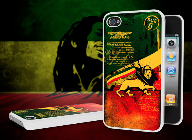 Coque iPhone 4/4S Rastafari Grunge Blanc