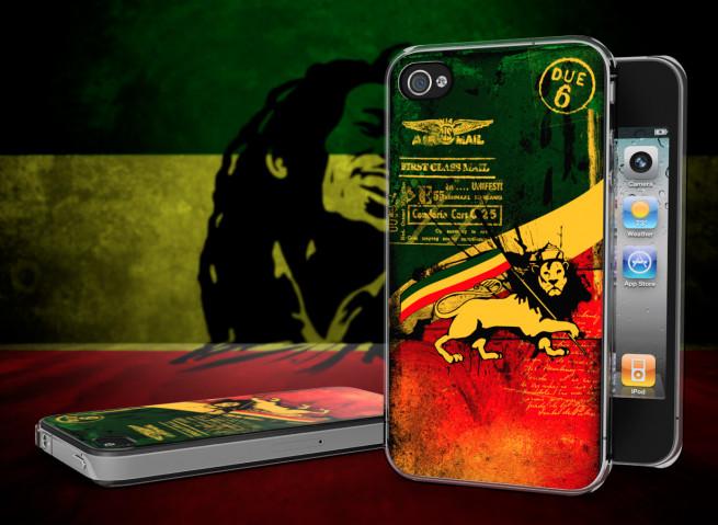 Coque iPhone 4/4S Rastafari Grunge Translucide