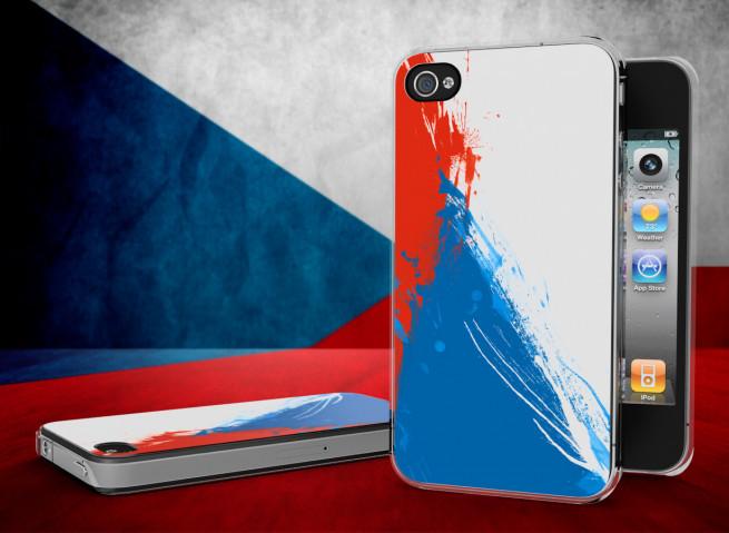 Coque iPhone 4/4S Drapeau Republique Tcheque Grunge Translucide