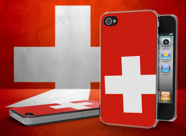 Coque iPhone 4/4S Drapeau Suisse Translucide