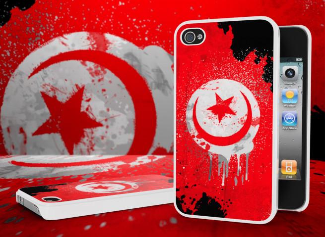Coque iPhone 4/4S Drapeau Tunisie Grunge Blanc