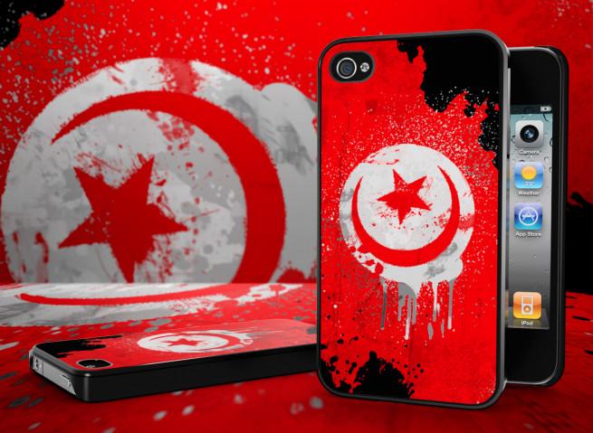 Coque iPhone 4S Drapeau Tunisie Grunge Noir