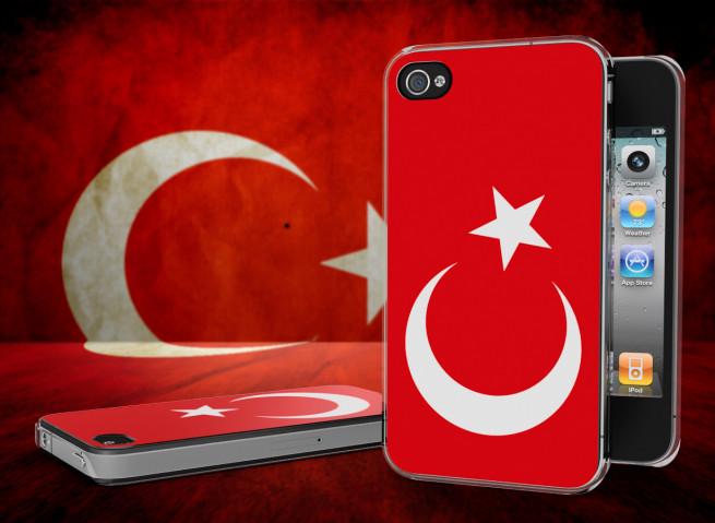 Coque iPhone 4/4S Drapeau Turquie Translucide