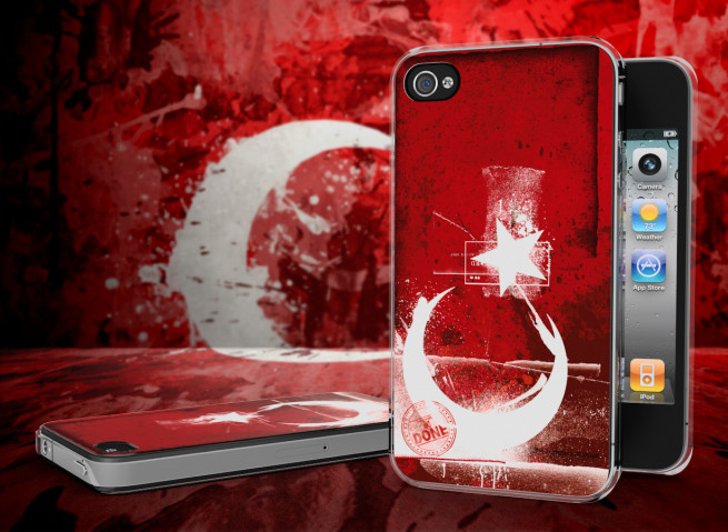 Coque iPhone 4/4S Drapeau Turquie Grunge Translucide