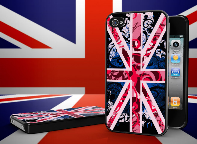 Coque iPhone 4/4S Drapeau UK Girly Grunge Noir