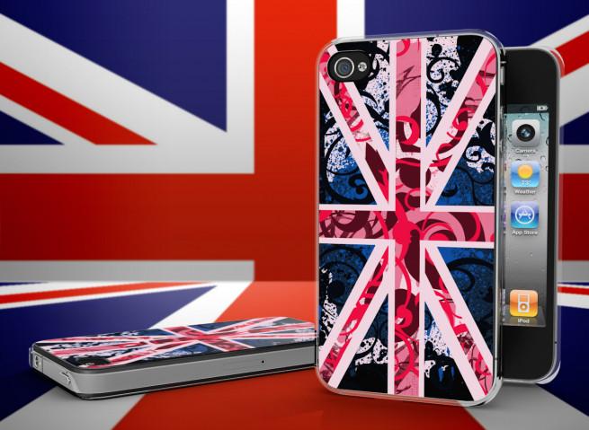 Coque iPhone 4/4S Drapeau UK Girly Grunge Translucide