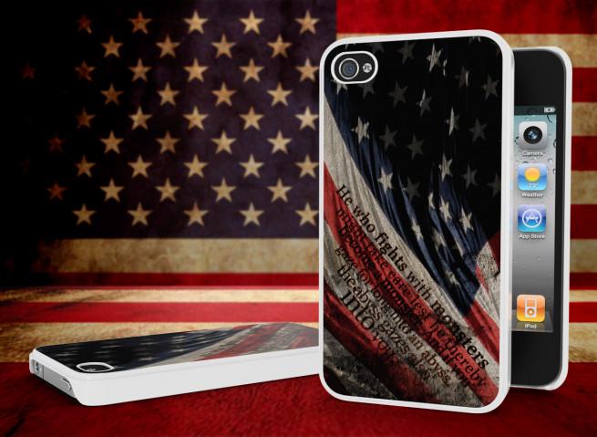 Coque iPhone 4/4S Drapeau USA Trash Grunge Blanc