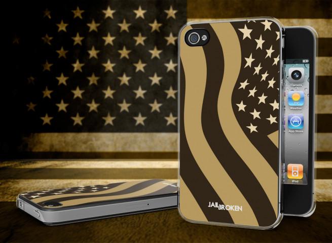Coque iPhone 4/4S Drapeau USA TAN Grunge Translucide