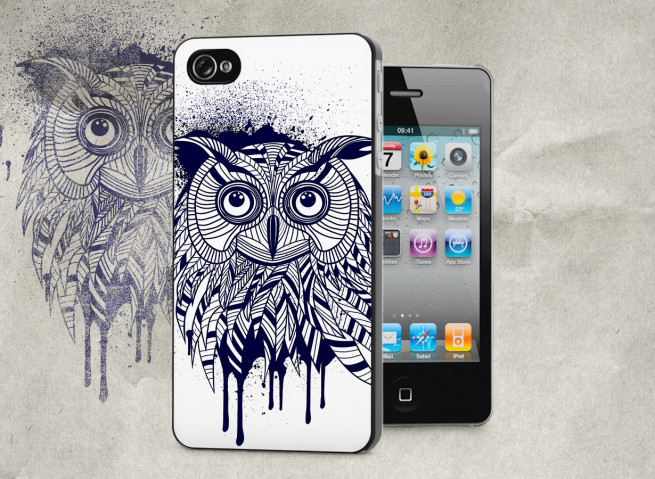 Coque iPhone 4/4S Black Owl Face