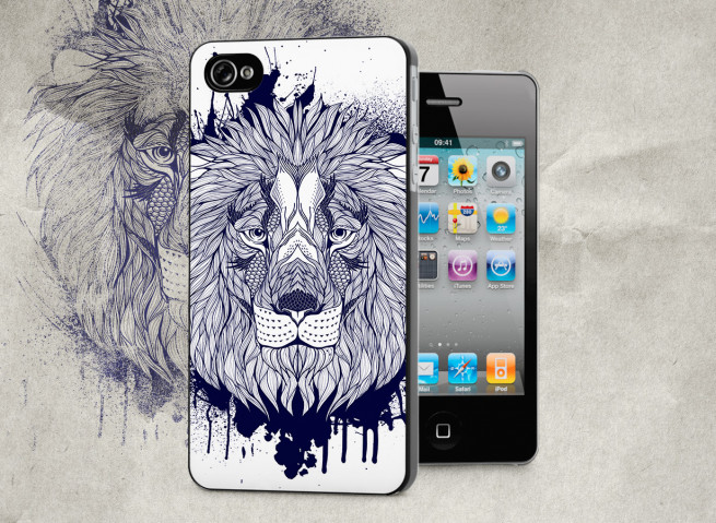 Coque iPhone 4/4S Black Lion Face
