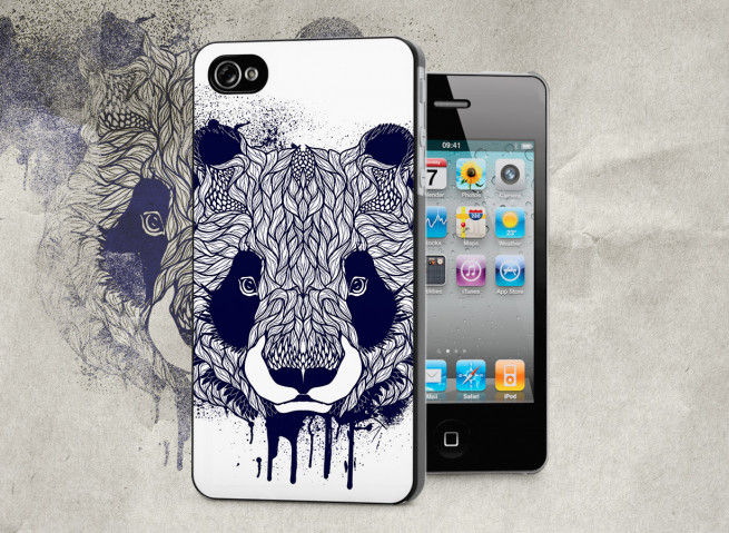 Coque iPhone 4/4S Black Panda Face