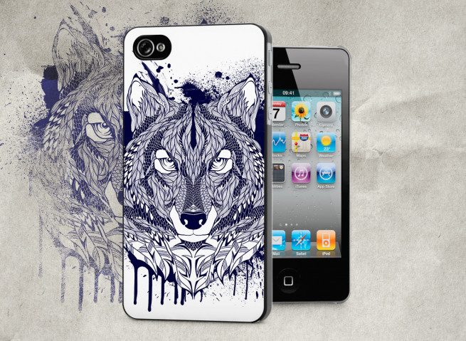 Coque iPhone 4/4S Black Wolf Face