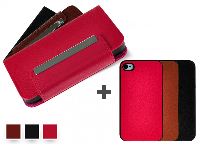 Etui Wallet + Coque iPhone 4/4S amovible