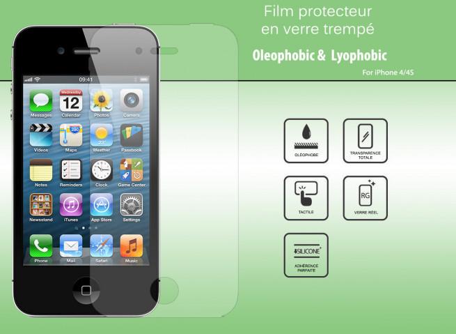 Film Protecteur iPhone 4/4S en Verre trempé