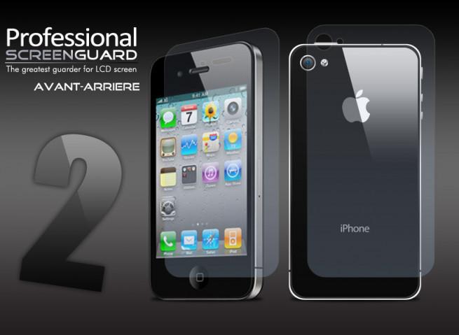 2 Kits AVANT/ARRIERE + chiffon iPhone 4/4S